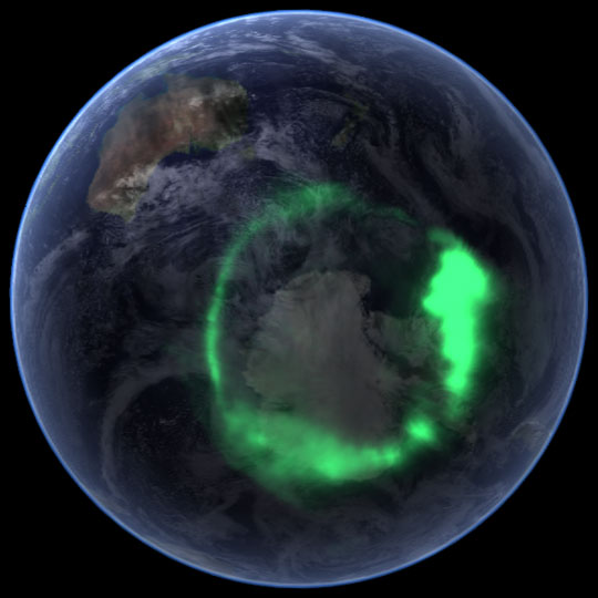 Aurora Australis showing polar opening